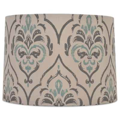Mix & Match Medium 15-Inch Damask Drum Lamp Shade in Grey/Teal