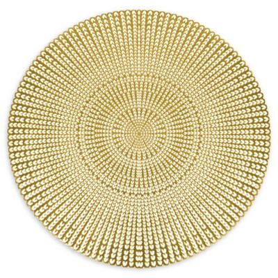 herringbone pressed vinyl placemat in gold