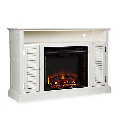 Buy Southern Enterprises Antebellum Media Console Electric Fireplace In Antique White From Bed