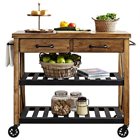 Crosley roots rolling rack industrial kitchen cart bed bath beyond - Industrial kitchen island for sale ...