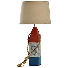 Charming Wooden Buoy Table Lamp In Red/White/Blue
