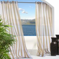 Commonwealth Home Fashions Escape Stripe Grommet 84-Inch Window Curtain Panel in Khaki