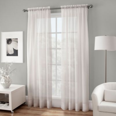 crushed voile sheer 120inch rod pocket window curtain panel in white