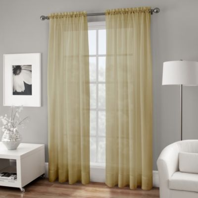 Crushed Voile Sheer 95 Inch Rod Pocket Window Curtain Panel In Gold