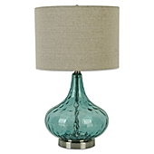 Florence glass droplet table lamp in teal with linen shade bed florence glass droplet table lamp in teal with linen shade mozeypictures Gallery