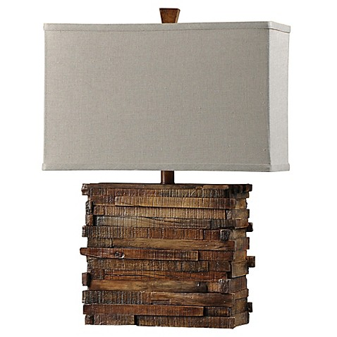 image of 1-Light Faux Wood Layered Table Lamp in Natural