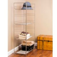 Adjustable 4-Tier Mesh Accent Shelf in Satin Nickel Finish