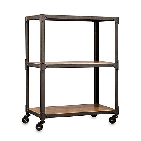 Wood And Metal 3 Tier Rolling Cart Bed Bath Beyond