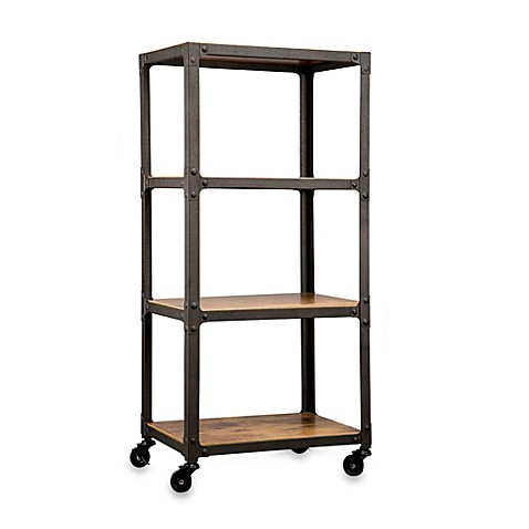 Wood And Metal 4 Tier Rolling Cart Bed Bath Amp Beyond