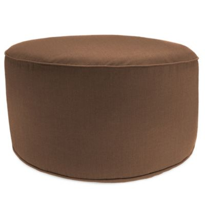 Round Pouf Ottoman in Sunbrella® Husk Texture Chocolate - Buy Sunbrella Pouf Ottoman From Bed Bath & Beyond