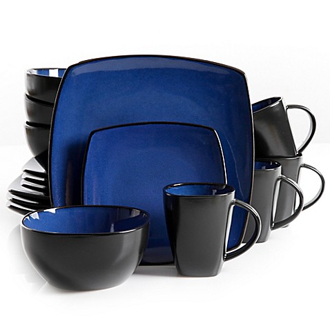 Gibson Home Amalfi 16 Piece Dinnerware Set In Blue Bed