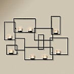 Portia Rectangular Wall Sconce for 8 Votives in Black
