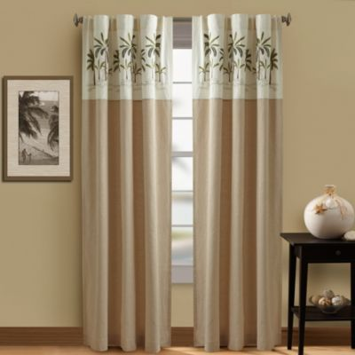 Wonderful Croscill® 108 Inch Palm Tree Lined Rod Pocket/Back Tab Window Curtain Panel