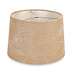 Mix & Match Medium 15-Inch Burlap Drum Lamp Shade with Floral Embroidery
