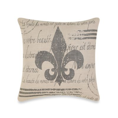 Fleur De Lis 18 Inch Square Throw Pillow