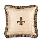 Fleur De Lis 18-Inch Square Embroidered Throw Pillow