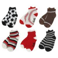 Capelli New York Size 2T-4T 6-Pack Multi-Sports Socks