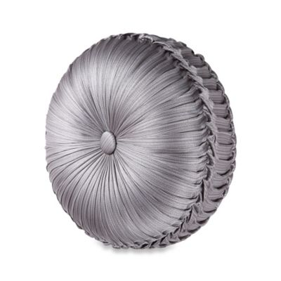j queen new york luxembourg tufted round throw pillow in antique silver