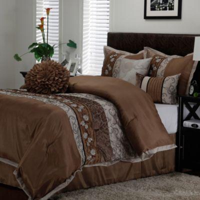 riley queen comforter set in taupe