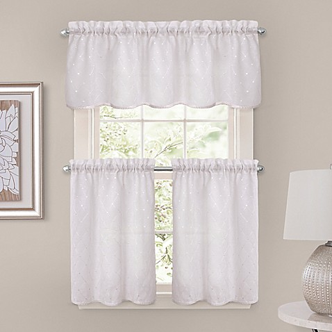 Buy Crystal Brook 52 Inch X 36 Inch Window Curtain Tier Pair In White From Bed Bath Beyond