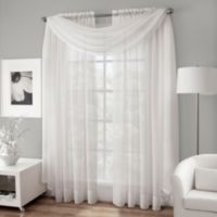 Crushed Voile Sheer Scarf Valance in White