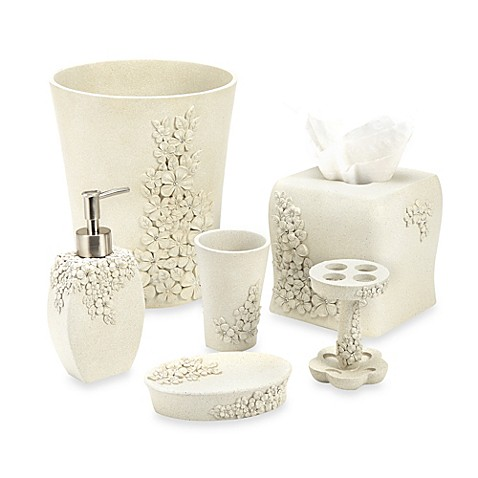 Delicate flower bathroom accessories bed bath beyond for Floral bathroom accessories set