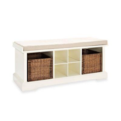 crosley brennan entryway storage bench in white
