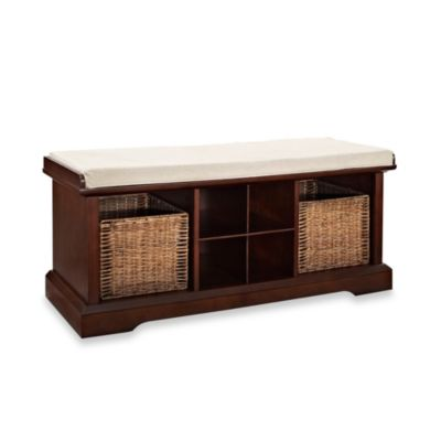 Crosley Brennan Entryway Storage Bench In Mahogany
