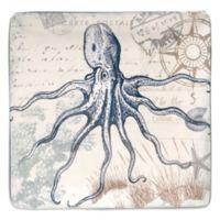 Certified International Coastal Postcards 12.25-Inch Square Platter
