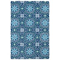 Kaleen Matira Flower 7-Foot 6-Inch x 9-Foot Indoor/Outdoor Area Rug in Blue