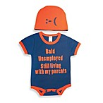 Sozo® Size 0-3M Bald Bodysuit and Cap Set in Navy/Orange