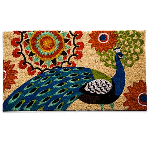 Floral Peacock Coir Door Mat Bed Bath Amp Beyond