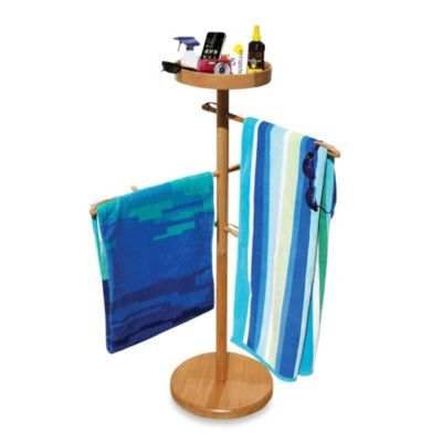 deluxe wood towel valet with 3 towel bars