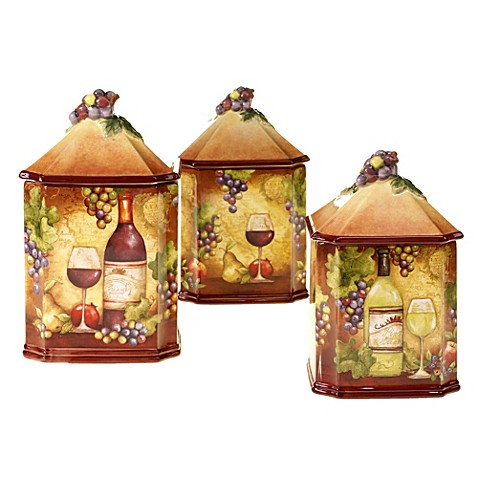 Certified International Wine Map 3 Piece Canister Set
