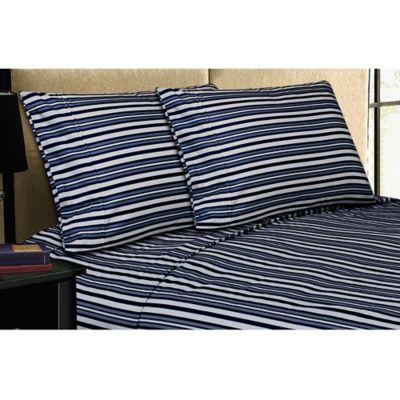 micro lush microfiber california king sheet set in navy stripe - Striped Sheets