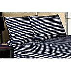Micro Lush Microfiber Queen Sheet Set in Navy Stripe