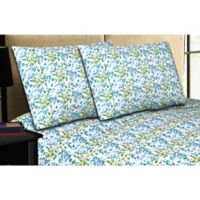 Micro Lush Microfiber Queen Sheet Set in Blue Floral