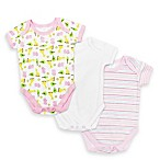 SpaSilk® Size 3M 3-Pack Hippo Print Bodysuits in Pink