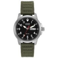 Citizen Men's Eco-Drive Sport Watch with Olive Canvas Strap