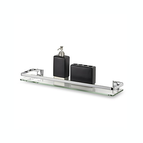 Fantastic Glass Bathroom Shelf With Chrome Towel Bar Oi16916 By Organize It A