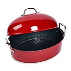High Dome Nonstick Steel Covered Roaster with Rack in Red