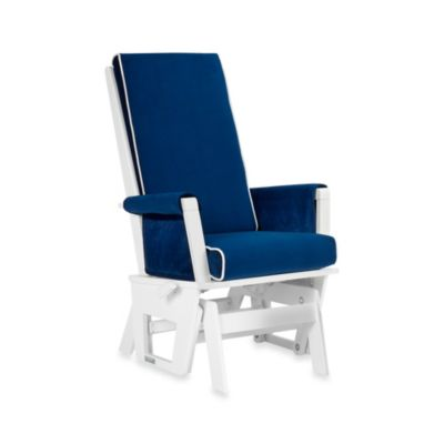 Amazing Wooden U003e Dutailier® Contemporary Wood Glider In White/Royal Blue