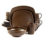 Gibson Paradiso 16-Piece Square Dinnerware Set in Brown