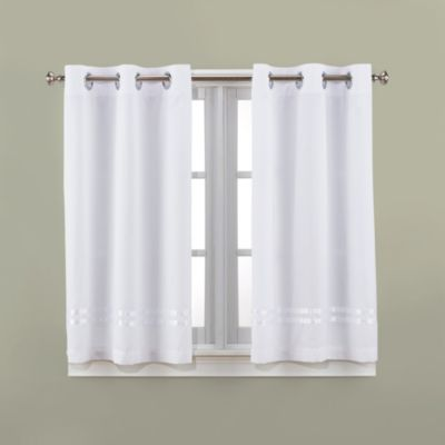 Charming Hookless® Escape 45 Inch Bath Window Curtain Panels In White