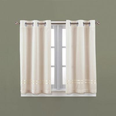HooklessR Escape 45 Inch Bath Window Curtain Panels In Ivory