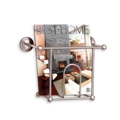 taymor wall mount magazine rack in satin nickel - Bathroom Magazine Rack