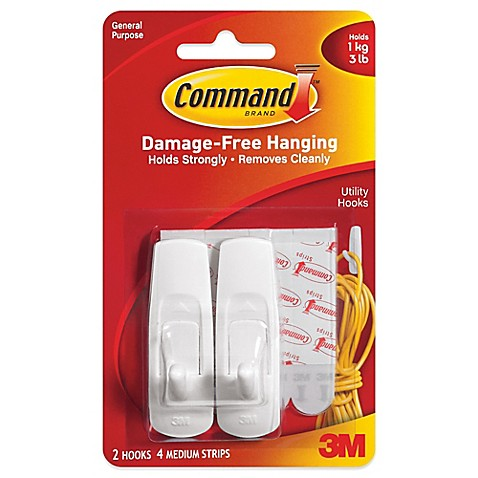 image of 3M Command™ 2-Pack Medium Hooks in White