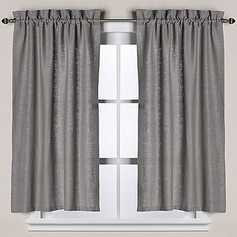 Buy Soho Linen Bath Window Curtain Tier Pair In Grey From Bed Bath Beyond