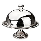 Classic Touch Hammered Stainless Steel Footed Cake Plate with Dome