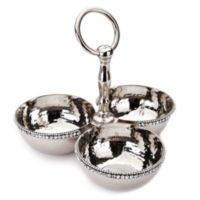 Classic Touch Hammered Stainless Steel 3-Bowl Condiment Dish